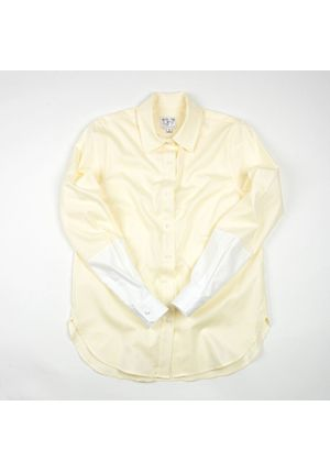 The Hand Dipped Shirt - Pale Moon Yellow/Cloud White